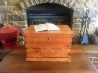 Old Antique Pine Chest, Vintage Wooden Storage Trunk, Pine Box