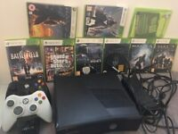COMPLETE XBOX 360 WITH 9 GAMES AND 2 WIRELESS CONTROL PAD