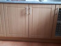 kitchen units, worktops, sinks hob and oven - good condition - over 20 units, 12m worktops