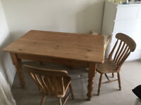 Pine table and four chairs : PRICE REDUCED TO SELL