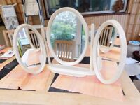 Free standing triple dressing table mirror in cream
