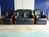 DARK BLUE LEATHER SET 2 SEATER SOFA / SUITE / SETTEE & 2 CHAIRS / ARMCHAIRS DELIVERY AVAILABLE