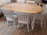 Painted pine table and 6 chairs