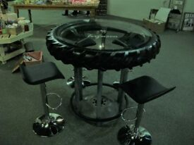 Glass Top Tractor Wheel Table and 4 Matching Stools