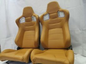 Pair of Brown PU Leather Sport Seats - Bucket Seat / Reclining Seats - Racing Car Seats - Runners