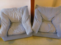 Two Large Blue Arm Chairs