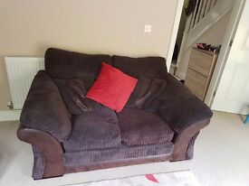 3 & 2 seater DFS Landan sofas with storage foot stool all in chocolate corduroy.