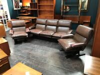 Leather 3 Piece Suite. Retro Vintage Mid Century