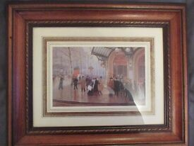 'Old fashioned street scene' picture professionally framed
