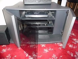 "Media Entertainment Hi-Fi TV Cabinet ONLY UP TO 55"" GLASS DOOR SILVER FINISH FREE TAKE AWAY"