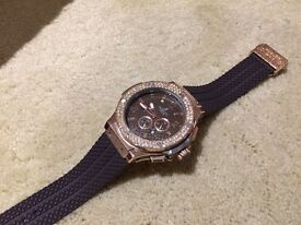 HUBLOT Men's watch NEW- ICED OUT Brown & Rose Gold