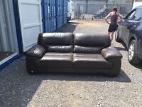 DFS chocolate three seater leather sofa RRP £995.99 ex display item mint condition