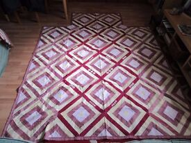 Vintage Retro 70's Handmade upcycled Patchwork single Quilt x 2 - £10 each