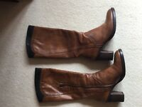 Ladies tan leather boots Size 39