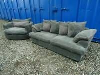Gorgeous Grey Csl Swivel Chair/3 Seater Sofa+Storage Footstool