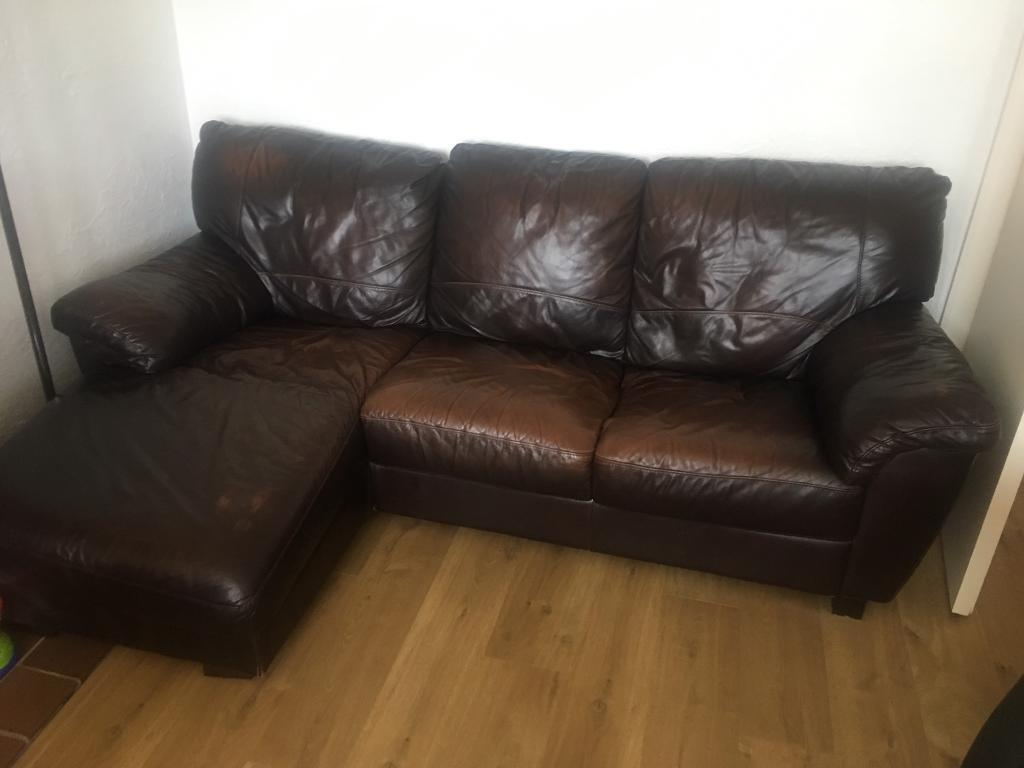 Dark brown leather sofa for sale