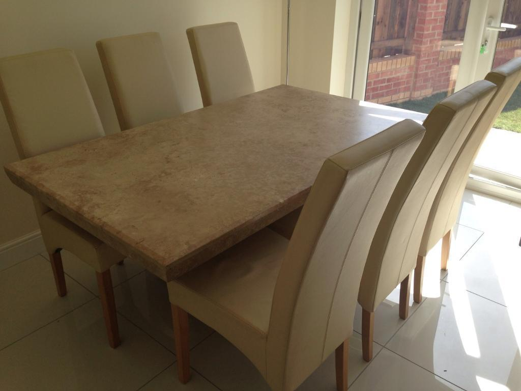 Marble Dining Table And 6 Chairs: Barker And Stonehouse Marble Stone Dining Table And 6