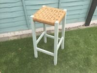 Stool, vintage/ shabby chic, painted in duck egg blue.