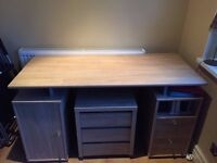 Large Spacious Wooden Desk With Small Drawer Very Good Condition