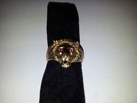 Lions Head Solid Gold Ring Size Z Mans Womans Mothers Dads 9k 9.2g Ruby Gemstone Eyes Hallmarked