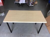 8 Ikea 130x60 office tables light oak with black legs
