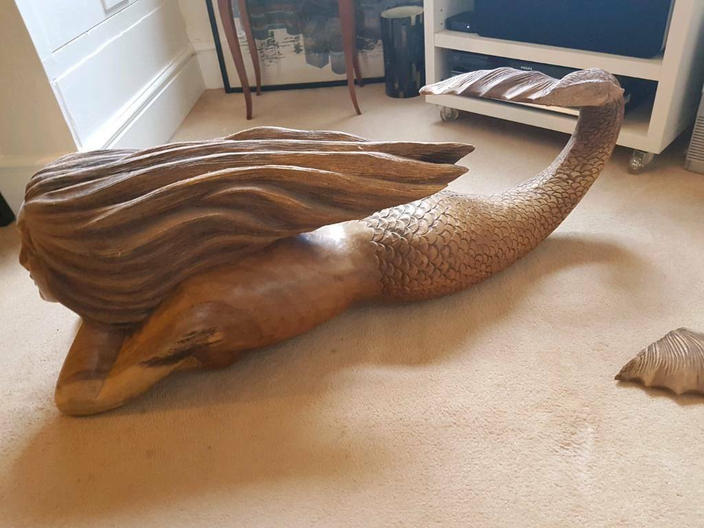 Carved mermaid coffee table in battersea london gumtree carved mermaid coffee table image 1 of 5 geotapseo Image collections