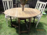 Vintage solid oak Barley Twist drop leaf table 2 solid oak chairs Upholstered Shabby Chic Old Ochre