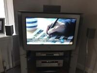 """SONY 30"""" Flatscreen to - with home cinema system - TV stand & 4 x speak stands"""