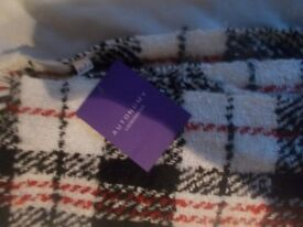 White, red and black check large ladies scarf BNWT