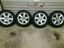 """4 x 16"""" genuine Audi 5 stud alloys and 1× new continental T125/70 R18 pp space saver 5 stud"""