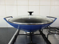 Le Creuset Blue Wok with glass lid