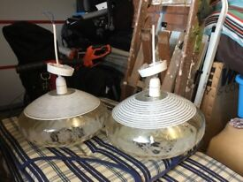 Pair of matching ceiling glass lights
