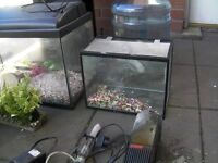 fish tanks x 4 for sale or swap + filters heater & ornaments + more ( 1 is damaged )