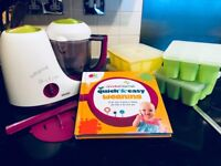 **Baby weaning kit**BEABA Babycook + Annabel Karmel Recipe book + 4 Food cube trays