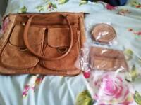 New suede handbag and accessories