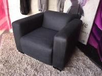 New Armchair In Black Faux Suede