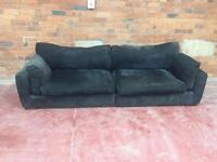 Black Barker + Stonehouse 4 Seater Velvet Sofa - UK Delivery