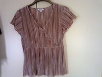 Stretchy silky top coral/browns size 14