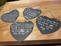 4 heart slate chalkboard with string hanging