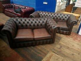 Brown Chesterfield 2 & 3 Seater Sofas