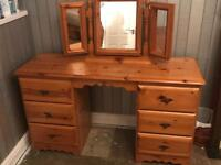 Solid pine dressing table with mirror other matching furniture available SEE PICTURES