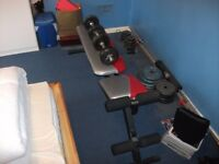 York Weight Bench with 5ft Barbell, Two Dumbells and 10kg Free Weights