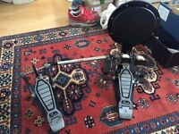 PEARL P100TW BASS DRUM DOUBLE PEDAL - GREAT CONDITION - WITH GIBRALTAR PRACTICE PAD