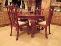 Carved Sheesham Table & Chairs (Indian Rosewood)