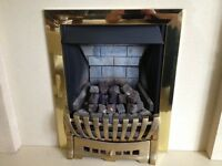 B & Q Blenheim Coal effect gas fire with brass surround, good working order 3 years old