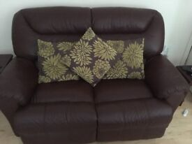 Brown leather electric recliner, two seater sofa and foot stool