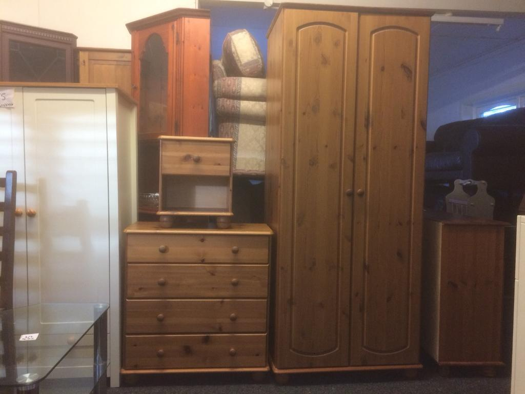 Pine wardrobe , bedside and drawers