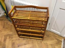 SOLD - Wooden shoe rack