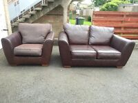 FOR SALE: Used NEXT 2 Seater Leather Sofa and Single Chair (part leather)