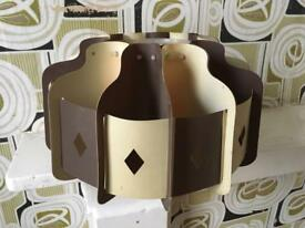 Original 1970s light shade - Brown and Cream